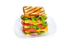 Plate with sandwich isolated Royalty Free Stock Photography