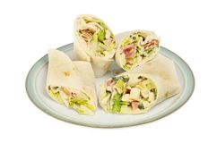 Plate of sandwich wraps royalty free stock photography