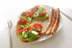 Plate with sandwiches Stock Photography