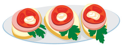 Plate with sandwiches. Color illustration Stock Images
