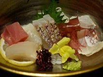 Seafood: Sashimi and Seaweed Served on Plate.  Royalty Free Stock Photo