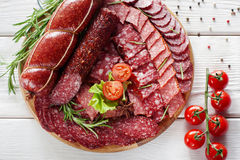 Plate of sausage, meat delicatessen Royalty Free Stock Photography
