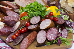Plate with sausage Royalty Free Stock Photo