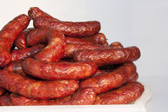 A plate with sausages. A plate with a large bunch of sausages Stock Images