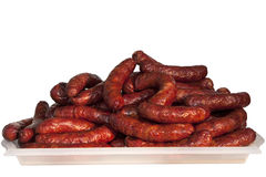 A plate with sausages. A plate with a large bunch of sausages Stock Photo