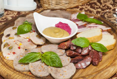 Plate of sausages Royalty Free Stock Images