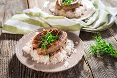 Plate of sausages and sauerkraut Stock Image