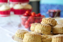 Plate of scones with strawberries and jam. Cream tea royalty free stock photography