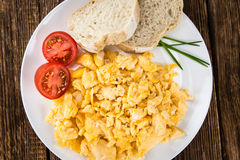 Plate with scrambled Eggs (close-up shot) Royalty Free Stock Image