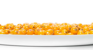 The plate of sea-buckthorn berries Royalty Free Stock Photography