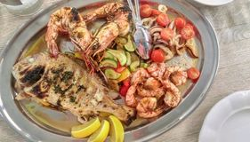 Plate of seafood Stock Photo
