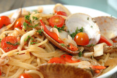 Plate of seafood pasta Stock Photo