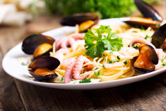 Plate of seafood pasta Stock Images