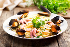 Plate of seafood pasta Royalty Free Stock Image