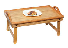 Plate with seafood on wooden table Royalty Free Stock Photos