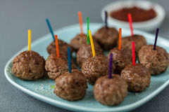 Plate of seasoned beef meatballs for appetizers Stock Photos