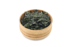 Plate of seaweed in a wooden bowl Royalty Free Stock Photos