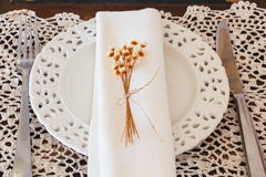 Plate serviette fork knife dried flowers crochet doily Royalty Free Stock Images