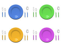 Plate sets. 3d rendered image of plate sets in various colors Royalty Free Stock Image