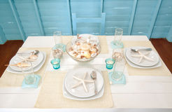 Plate setting in maritime style Royalty Free Stock Photos