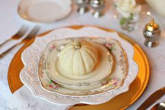 Plate setting with pumpkin  Stock Image