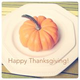 Plate setting with pumpkin for Thanksgiving Stock Images