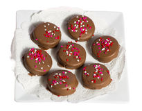 Plate of seven chocolate cookies with hearts Royalty Free Stock Image