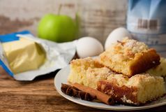 Plate with several portions of apple cake and spice Stock Photo