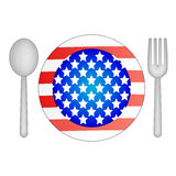 Plate in the shape of USA flag Stock Images