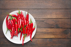 Plate of shiny red chili Stock Photo