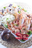 Plate of shrimp. Second dish of Mediterranean cuisine, shrimp and vegetables stock photography