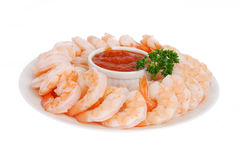 Plate of shrimp cocktail Stock Image