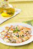 Plate of shrimp fried rice peas ham omelette Royalty Free Stock Image