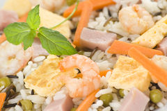 Plate of shrimp fried rice peas ham omelette Stock Image