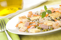 Plate of shrimp fried rice peas ham omelette Stock Images