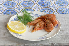 Plate of shrimp, lemon and dill Royalty Free Stock Photos