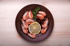 Plate with shrimp lemon and herbs. On a wooden table is a plate with shrimp, lemon and herbs Royalty Free Stock Images