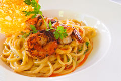 Spaghetti Shrimp. A plate of Shrimp Spaghetti Stock Image