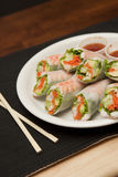 Plate of shrimp spring rolls and sauce Royalty Free Stock Photos
