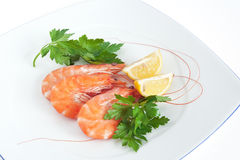 Plate with shrimps Royalty Free Stock Photography