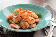 Plate with a shrimps Royalty Free Stock Images