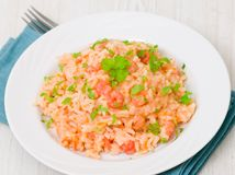 Plate of Shrimps Risotto Stock Images