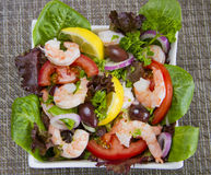 Plate of Shrimps Salad Stock Photos