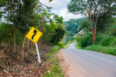Plate side road to show about condition road like a maze locatio. N is very high at Maesalong Mountain Chiangrai,  Thailand Royalty Free Stock Images