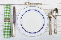 Plate with silver cutlery Stock Photos