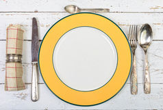 Plate with silver cutlery Royalty Free Stock Photo