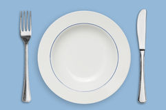 Plate and silverware Royalty Free Stock Images