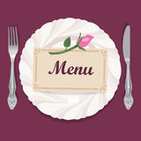 Plate, silverware and card. Illustration with tableware on burgundy background Royalty Free Stock Photography