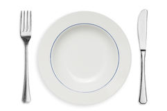 Plate and silverware isolated stock images