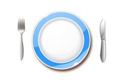 Plate on skirt. Illustration of clean plate with knife and fork Stock Photos